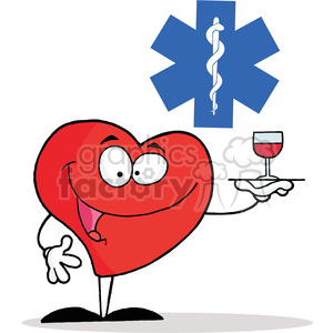Healthy Red Heart Character Serving a Glass of Red Wine in Red Cross clipart. Commercial use image # 378081