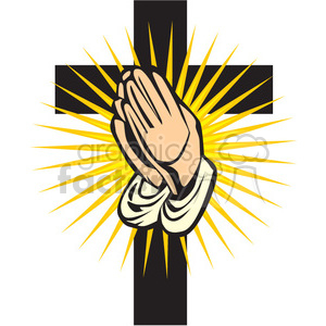 Praying hands with a cross in the back clipart. Commercial use image # 164468