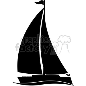 large sailboat silhouette in water with flag clipart. Royalty-free image # 394860