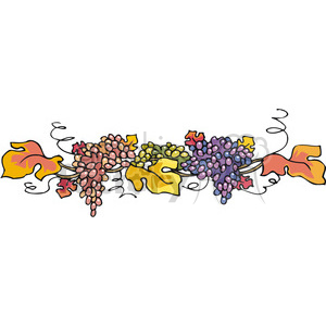 thanksgiving fall garland of grapes and leaves clipart. Commercial use image # 145487