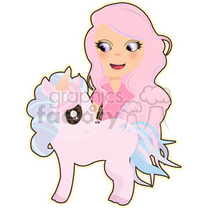 Unicorn and Girl cartoon character vector image clipart. Commercial use image # 394981