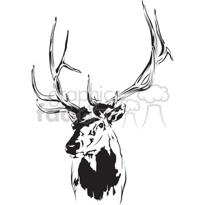 black and white deer clipart. Commercial use image # 394986