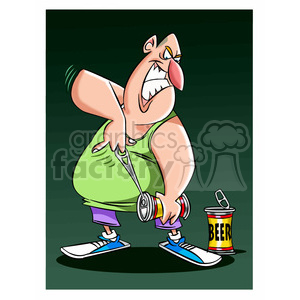 large man trying to open beer can clipart. Commercial use image # 395134