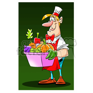 man carrying box of vegetables