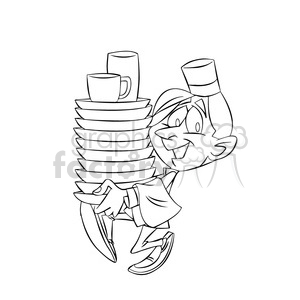 waiter carrying dishes black and white clipart. Commercial use image # 395184