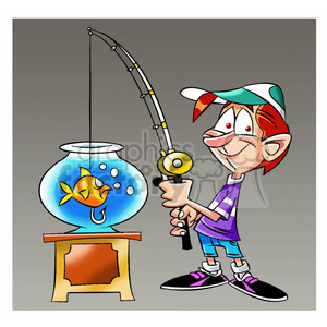 guy fishing in a fish bowl clipart. Commercial use image # 395204