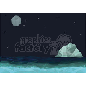 cartoon character cute illustration moon ocean island night sky scene poly geometric