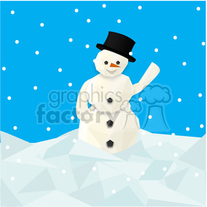 Low poly snowman square cartoon character vector clip art image geometric clipart. Royalty-free image # 395263