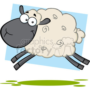 7105 Royalty Free RF Clipart Illustration Black Head Sheep Cartoon Mascot Character Jumping clipart. Royalty-free image # 395325