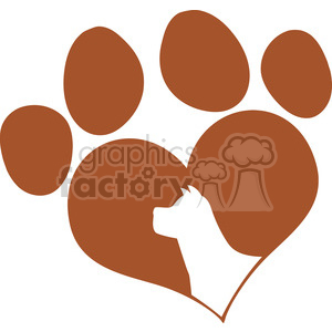 Royalty Free RF Clipart Illustration Brown Love Paw Print With Dog Head Silhouette clipart. Commercial use image # 395355