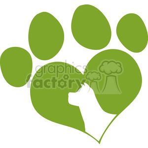 Royalty Free RF Clipart Illustration Green Love Paw Print With Dog Head Silhouette