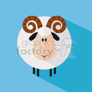 8247 Royalty Free RF Clipart Illustration Cute Ram Sheep Modern Flat Design Vector Illustration clipart. Royalty-free image # 395415
