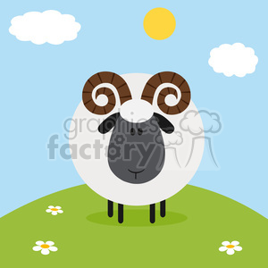 8242 Royalty Free RF Clipart Illustration Cute Ram Sheep On A Hill Modern Flat Design Vector Illustration clipart. Royalty-free image # 395425