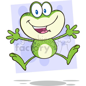 7251 Royalty Free RF Clipart Illustration Cute Green Frog Cartoon Mascot Character Jumping clipart. Royalty-free image # 395445