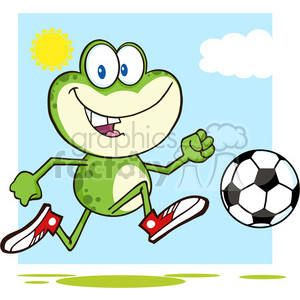 7279 Royalty Free RF Clipart Illustration Cute Green Frog Cartoon Character Playing With Soccer Ball clipart. Royalty-free image # 395475