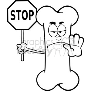 Royalty Free RF Clipart Illustration Black And White Angry Bone Cartoon Mascot Character Holding A Stop Sign clipart. Royalty-free image # 395515