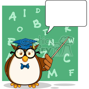 Wise Owl Teacher Cartoon Mascot Character With A Speech Bubble And Background clipart. Royalty-free image # 395525