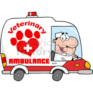 Royalty Free RF Clipart Illustration Doctor Driving Veterinary Ambulance clipart. Royalty-free image # 395565