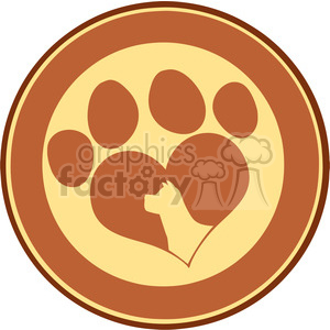 Illustration Love Paw Print Brown Circle Banner Design With Dog Head Silhouette clipart. Commercial use image # 395585
