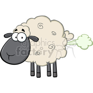 Royalty Free RF Clipart Illustration Cute Black Head Sheep Cartoon Mascot Character With Fart Cloud clipart. Royalty-free image # 395605