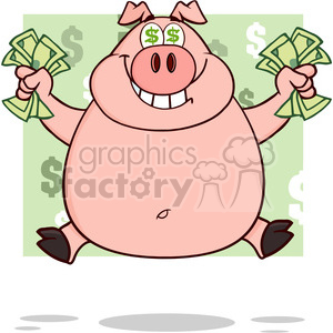 Royalty Free RF Clipart Illustration Smiling Rich Pig With Dollar Eyes And Cash Jumping Over Green clipart. Commercial use image # 395615