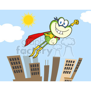Royalty Free RF Clipart Illustration Frog Superhero Cartoon Character Flying Over The City clipart. Commercial use image # 395645