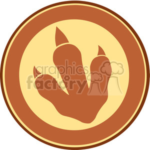 8772 Royalty Free RF Clipart Illustration Dinosaur Brown Paw Print Circle Label Design Vector Illustration clipart. Commercial use image # 395655