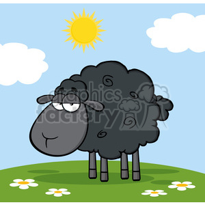 Royalty Free RF Clipart Illustration Cute Black Sheep On A Meadow clipart. Royalty-free image # 395675