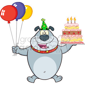 Royalty Free RF Clipart Illustration Birthday Gray Bulldog Cartoon Mascot Character Holding Up A Birthday Cake With Candles
