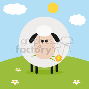 8229 Royalty Free RF Clipart Illustration Cute White Sheep With Flower On A Hill Modern Flat Design Vector Illustration clipart. Royalty-free image # 395695