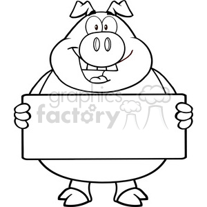 Royalty Free RF Clipart Illustration Black And White Pig Cartoon Mascot Character Holding A Banner clipart. Commercial use image # 395705
