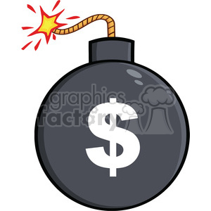 Royalty Free RF Clipart Illustration Cartoon Bomb With Dollar Sign clipart. Royalty-free image # 395715