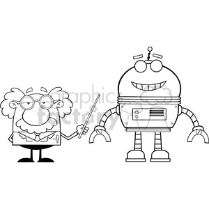 Royalty Free RF Clipart Illustration Black And White Funny Scientist Or Professor Shows His Pointer A Big Robot clipart. Commercial use image # 395725