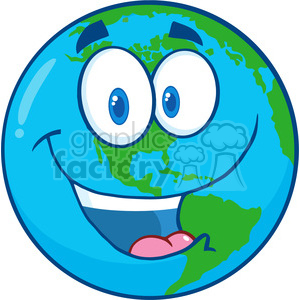 Royalty Free RF Clipart Illustration Happy Earth Cartoon Character clipart. Royalty-free image # 395785