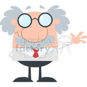 Royalty Free RF Clipart Illustration Funny Scientist Or Professor Waving Flat Design clipart. Royalty-free image # 395795