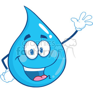 Royalty Free RF Clipart Illustration Water Drop Character Waving For Greeting clipart. Royalty-free image # 395825
