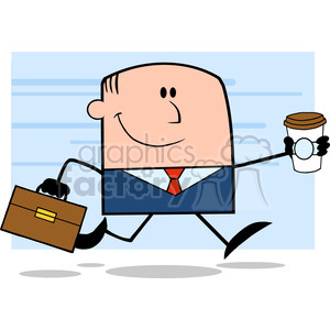 Royalty Free RF Clipart Illustration Lucky Businessman Running To Work With Briefcase And Coffee Cartoon Character On Background clipart. Royalty-free image # 395835
