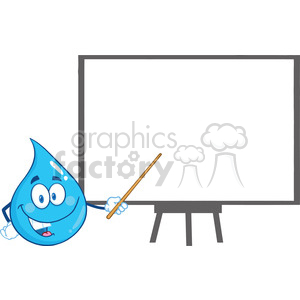 Royalty Free RF Clipart Illustration Water Drop Character Holding A Pointer Presenting On A Board clipart. Royalty-free image # 395845