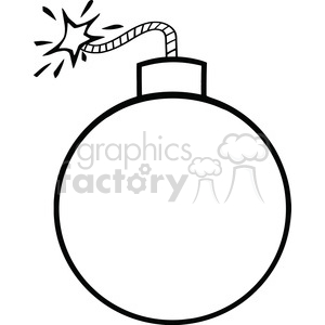 Royalty Free RF Clipart Illustration Black and White Cartoon Bomb With Lit Fuse clipart. Royalty-free image # 395875