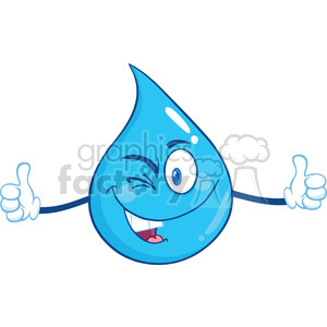Royalty Free RF Clipart Illustration Happy Water Drop Character Giving A Double Thumbs Up clipart. Royalty-free image # 395885