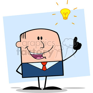 Royalty Free RF Clipart Illustration Happy Businessman With A Bright Idea Cartoon Character On Background clipart. Royalty-free image # 395895