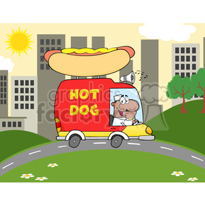 Royalty Free RF Clipart Illustration African American Hot Dog Vendor Driving Truck In The Town clipart. Commercial use image # 395905