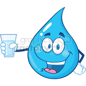 Royalty Free RF Clipart Illustration Water Drop Character Holding A Water Glass clipart. Royalty-free image # 395915