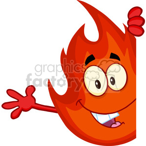 Royalty Free RF Clipart Illustration Cute Fire Cartoon Mascot Character Looking Around A Blank Sign And Waving