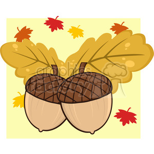 Royalty Free RF Clipart Illustration Two Acorn With Oak Leaves Cartoon Illustrations With Background clipart. Royalty-free image # 395955
