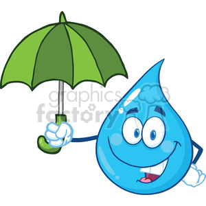 Smiling Water Drop Character With Umbrella clipart. Royalty-free image # 395965