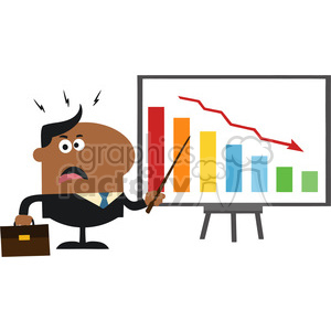 8363 Royalty Free RF Clipart Illustration Angry African American Manager Pointing To A Decrease Chart On A Board Flat Style Vector Illustration clipart. Royalty-free image # 395975