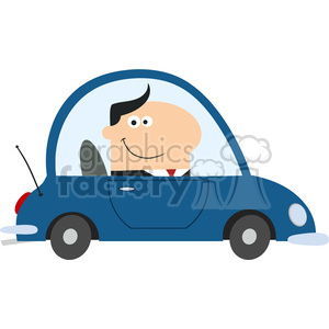 8263 Royalty Free RF Clipart Illustration Smiling Manager Driving Car To Work In Modern Flat Design Vector Illustration clipart. Royalty-free image # 395985