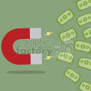 8300 Royalty Free RF Clipart Illustration Horseshoe Magnet Attracting Cash Money Flat Design Style Vector Illustration clipart. Royalty-free image # 395995