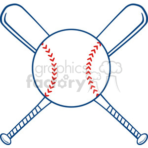 Two Crossed Baseball Bats And Ball clipart. Royalty-free image # 396086